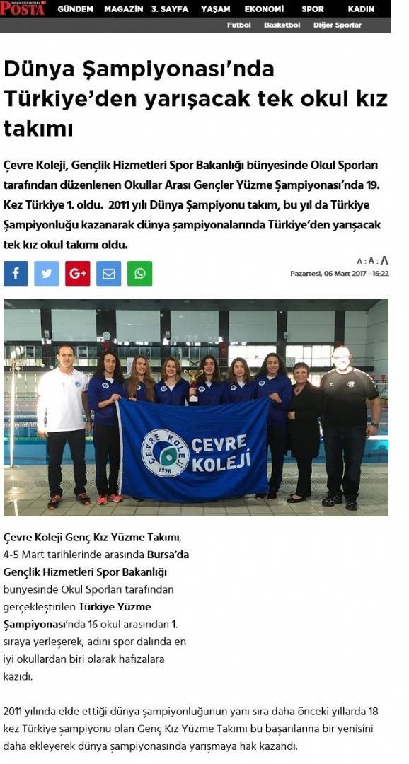 19. Kez Yüzme Şampiyonluğu - Posta