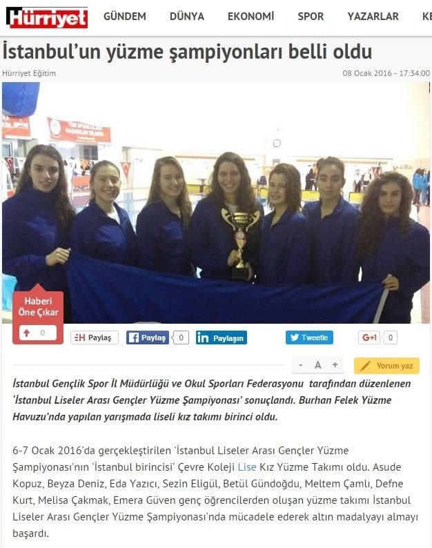 Çevre High School Girls Swimming team won a championship once again.