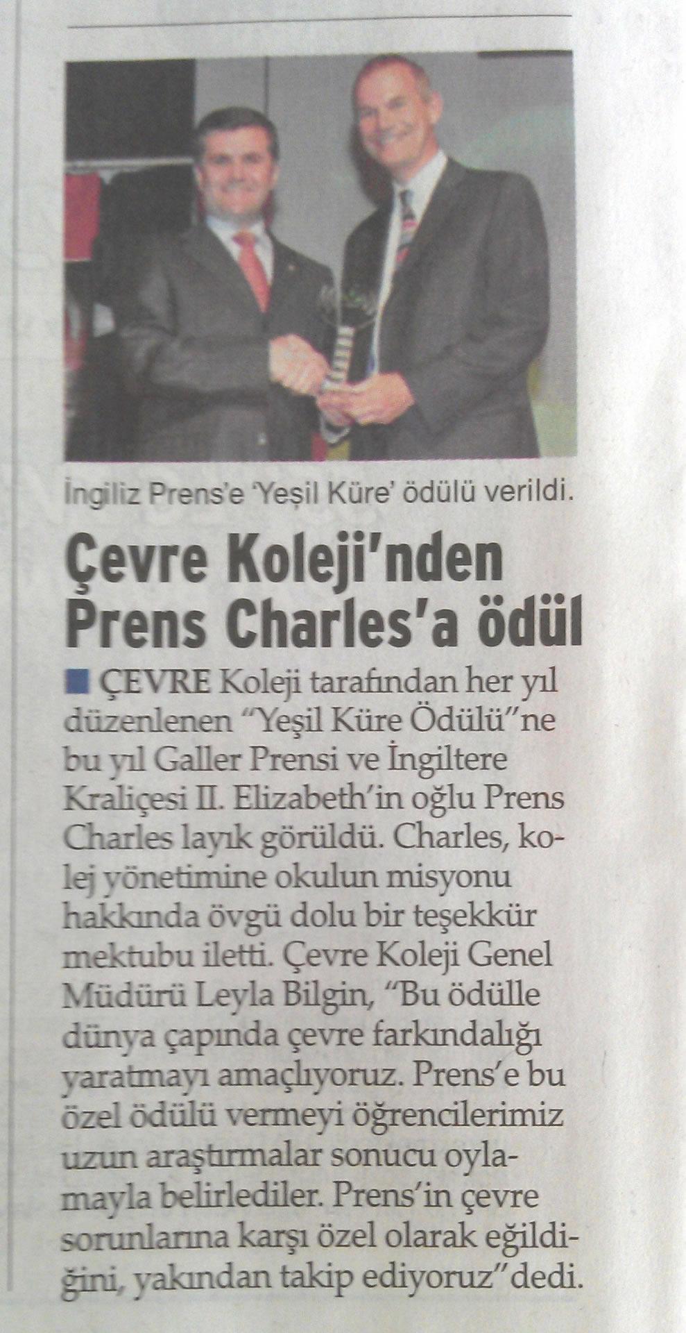 Çevre Koleji'nden Prens Charles'a ödül