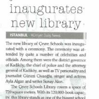 ÇEVRE SCHOOL INAUGURATES NEW LIBRARY